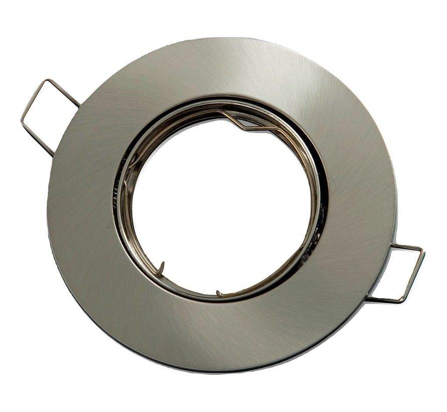 Inbouwspot satijn nikkel rond - kantelbaar - zaagmaat 75mm - buitenmaat 92mm