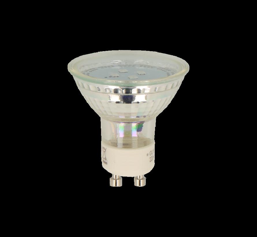 LED spot GU10 - 1W - 2700K warm wit licht - vervangt 10W - Glazen behuizing