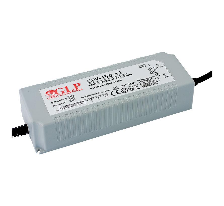 LED voedingsadapter - 12V 120W 10A - geschikt voor 12V LED-verlichting - IP67 waterdicht