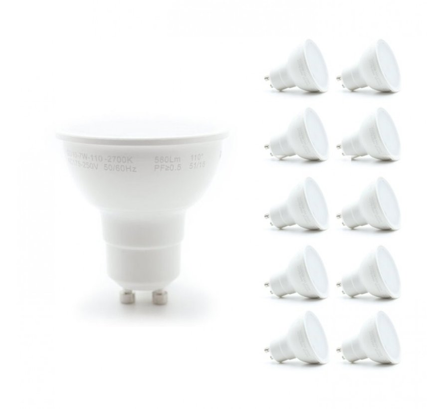 Voordeelpak 10 stuks - GU10 LED spots - 6W vervangt 40W - Lichtkleur optioneel