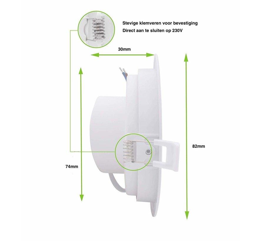 LED inbouwspot wit - 3W vervangt 25W - 3000K warm wit licht - Zaagmaat 74mm - Kantelbaar