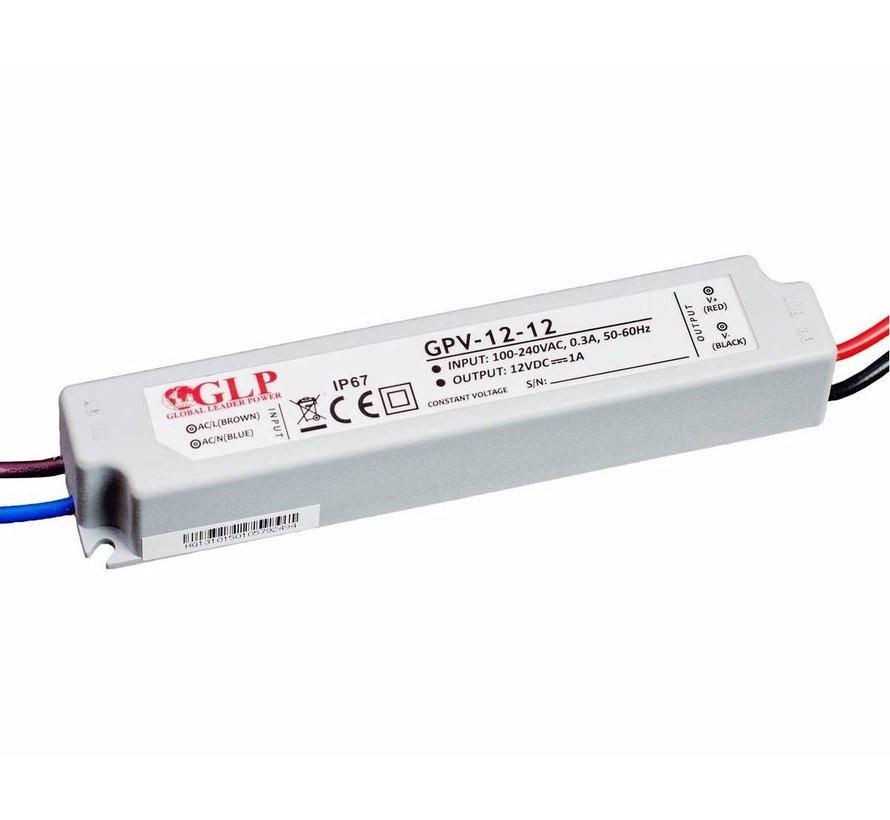 LED voedingsadapter - 12V 12W 1A - geschikt voor 12V LED-verlichting - IP67 waterdicht