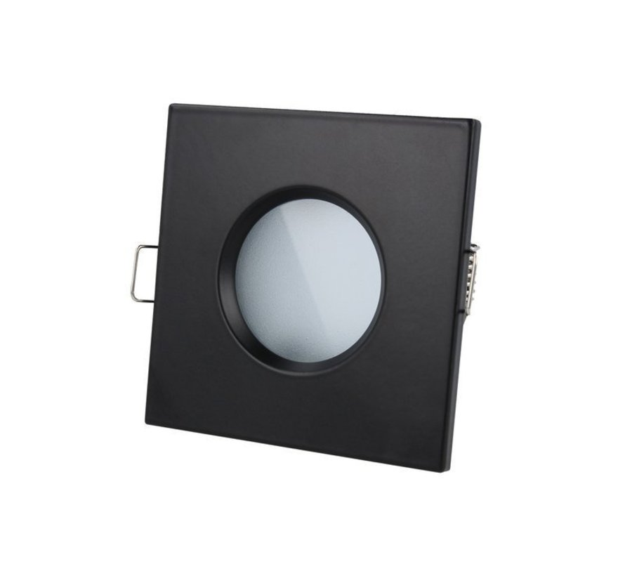 LED inbouwspot set 3 stuks dimbaar - Badkamer IP44 - Zwart Vierkant 5,5W 4000K helder wit licht - inbouwmaat 74mm