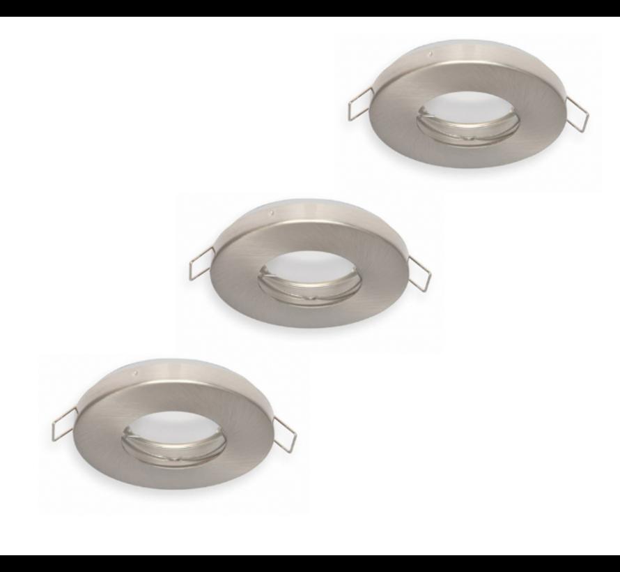 LED inbouwspot 3 stuks dimbaar - Badkamer IP44 - Satijn Nikkel Rond 5,5W 4000K helder wit licht - inbouwmaat 74mm