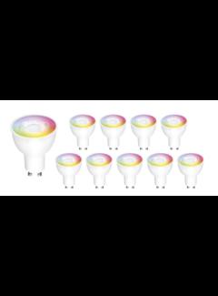Voordeelpak 10 stuks - GU10 WiFi LED Spot - 5W vervangt 50W - RGB+CCT alle lichtkleuren - Bediening met de App
