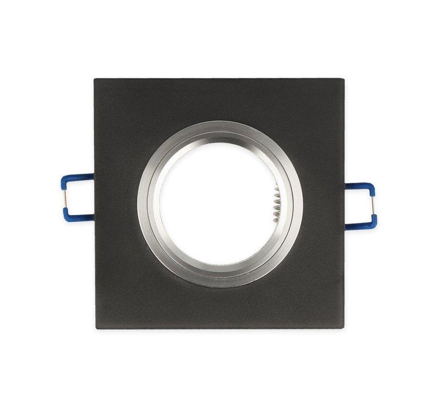Inbouwspot zwart vierkant Glas - Kantelbaar - zaagmaat 74mm - buitenmaat 90mm