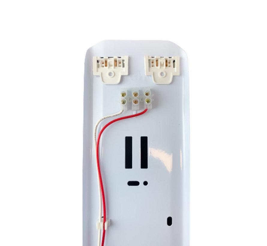 1.5m 48W - LED TL Waterdichte armatuur IP65 + 2 LED TL buizen 3000K 830 warm wit compleet