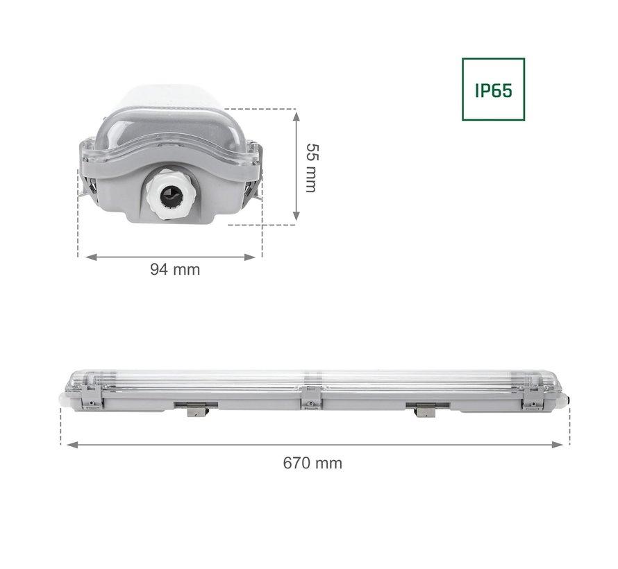 60cm LED armatuur IP65 + 2 LED TL buizen 18W p/s - 3000K 830 warm wit licht - Compleet
