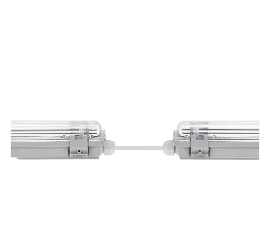 60cm LED armatuur IP65 + 2 LED TL buizen 18W p/s - 4000K 840 heleder wit licht - Compleet