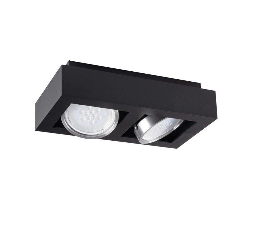 LED AR111 GU10 plafondspot armatuur zwart - Tweevoudig voor 2 LED GU10 spots