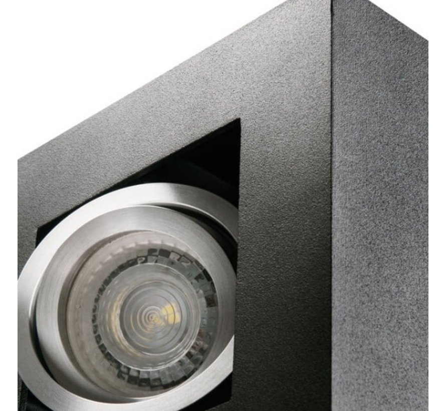 LED GU10 plafondspot armatuur zwart - Dubbelvoudig voor 2 LED GU10 spots