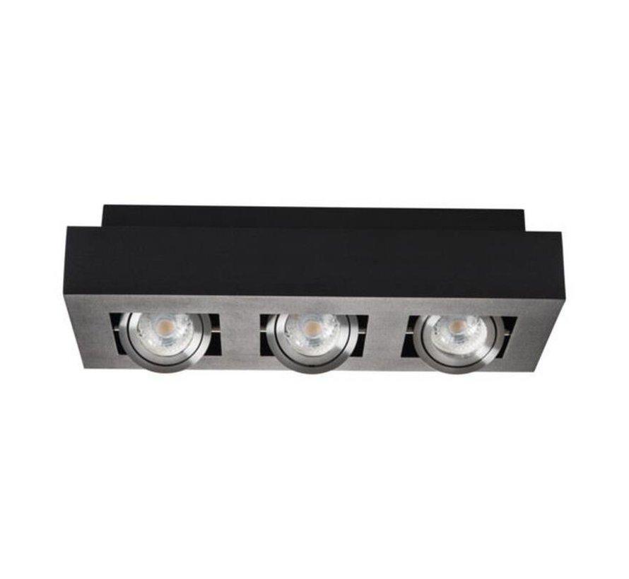 LED GU10 plafondspot armatuur zwart - Drievoudig voor 3 LED GU10 spots
