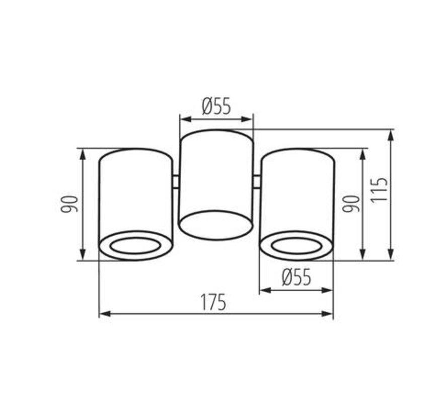LED GU10 plafondspot verstelbaar zwart - Dubbelvoudig voor 2 LED GU10 spots
