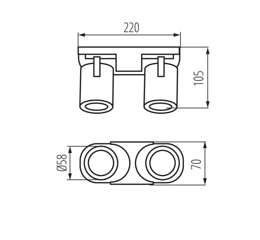 LED GU10 plafond - wandspot zwart - Dubbelvoudig voor 2 LED GU10 spots