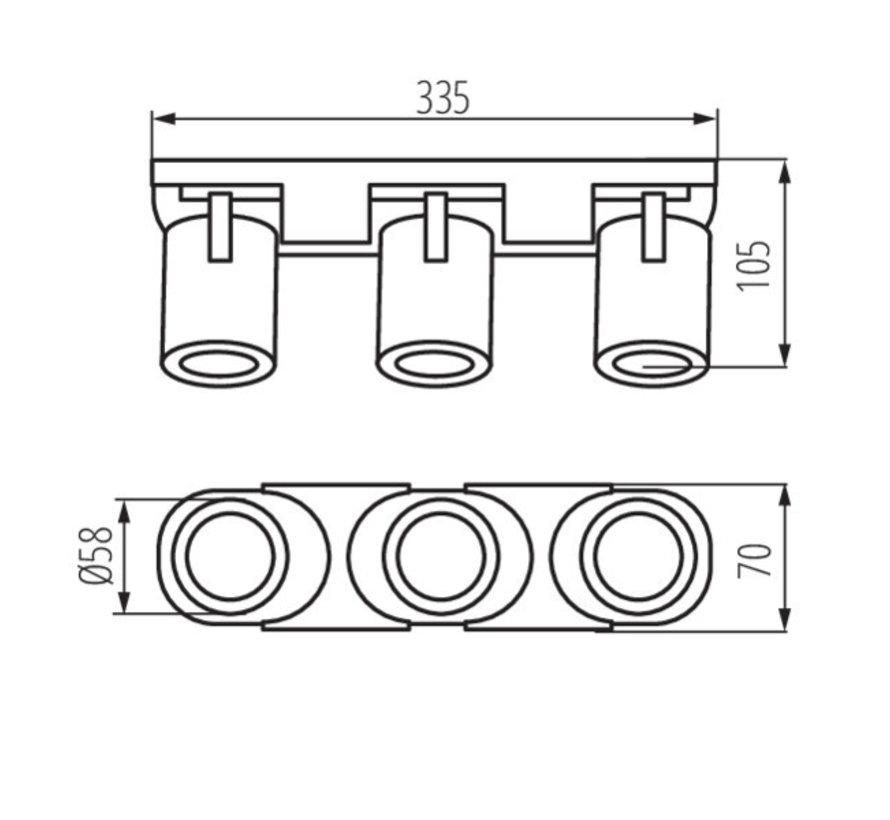 LED GU10 plafond - wandspot zwart - Drievoudig voor 3 LED GU10 spots