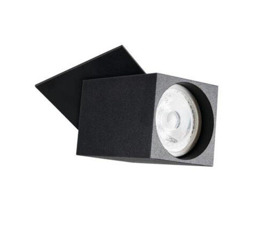 LED GU10 plafondspot richtbaar zwart vierkant - Enkelvoudig voor 1 LED GU10 spot