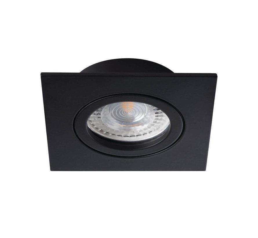 LED GU10 inbouwspot zwart vierkant - zaagmaat 70mm buitenmaat 82mm