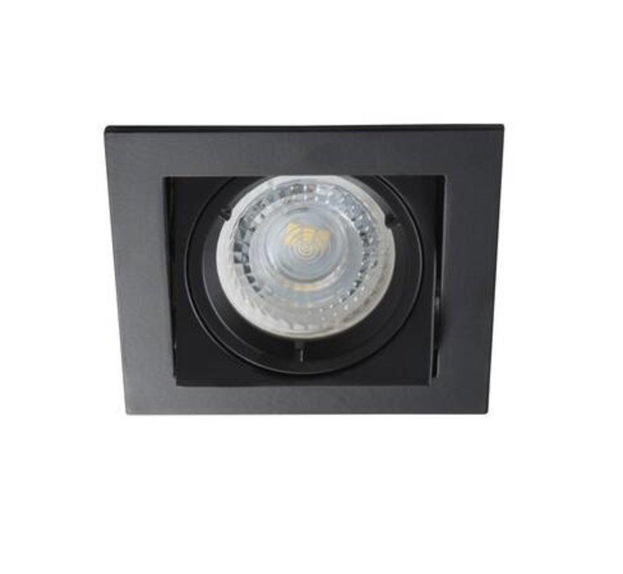 LED GU10 inbouwspot zwart vierkant verzonken - zaagmaat 83x83mm buitenmaat 94mm