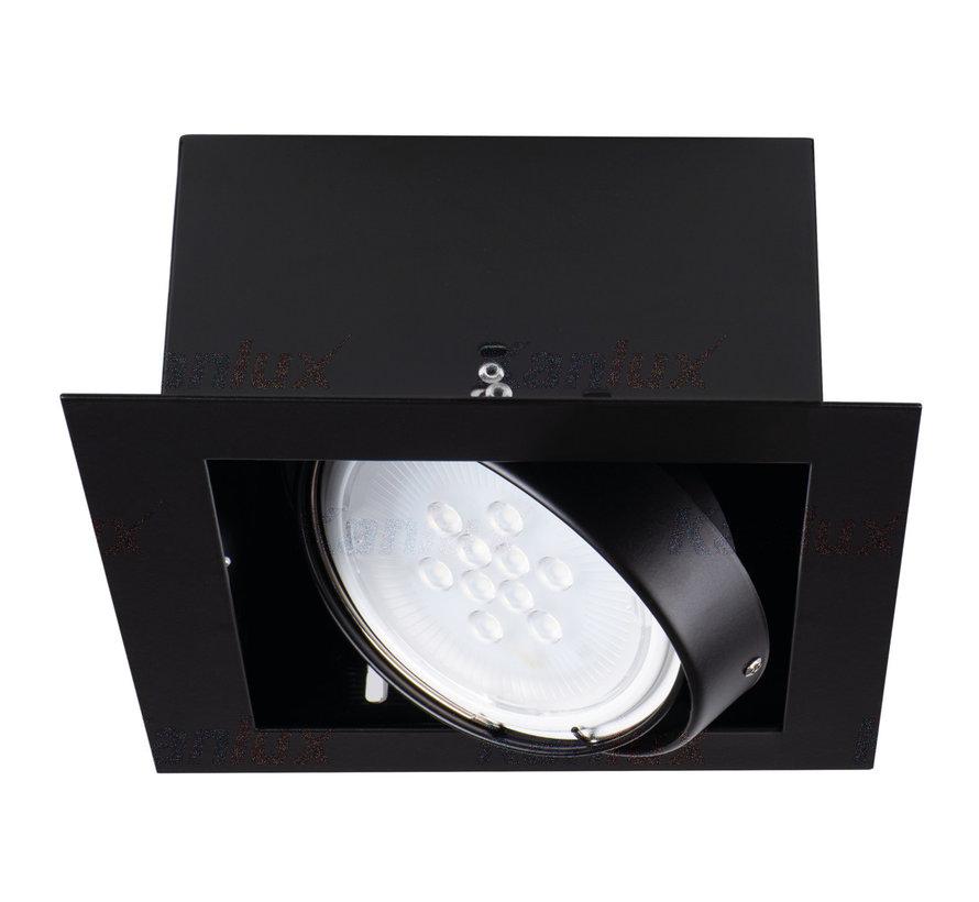 LED AR111 inbouwspot zwart vierkant - Enkelvoudig voor 1 LED AR111 spot