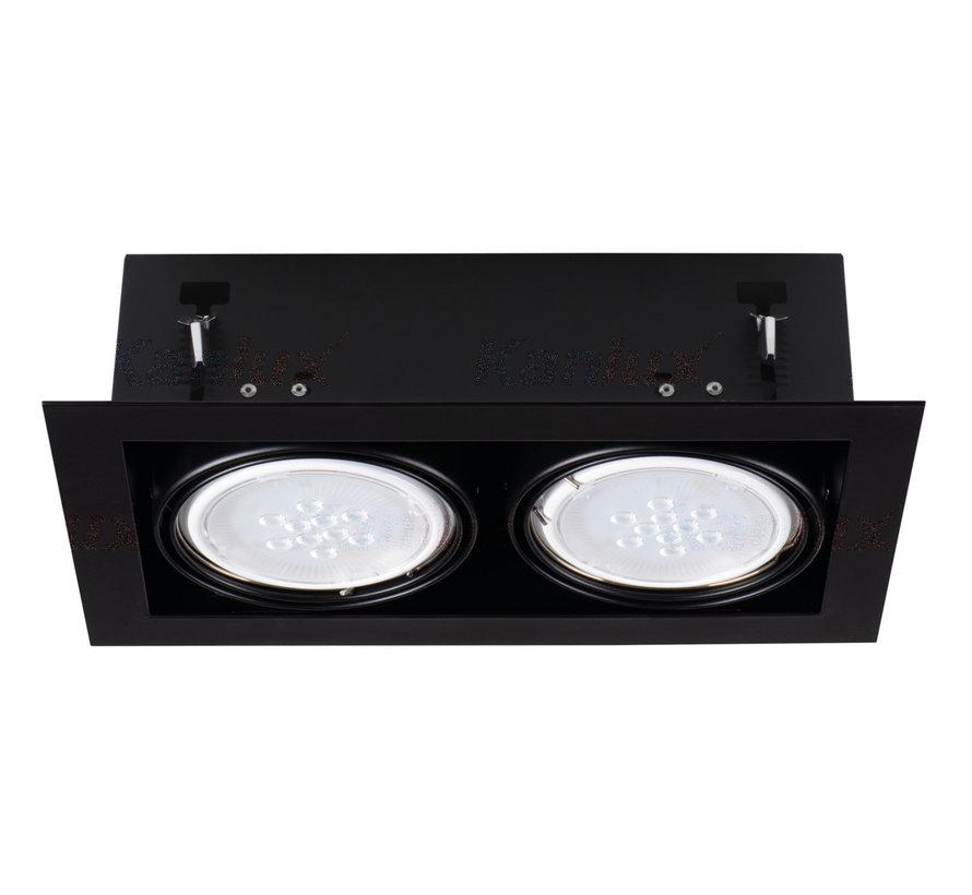 LED AR111 inbouwspot zwart vierkant - Dubbelvoudig voor 2 LED AR111 spots