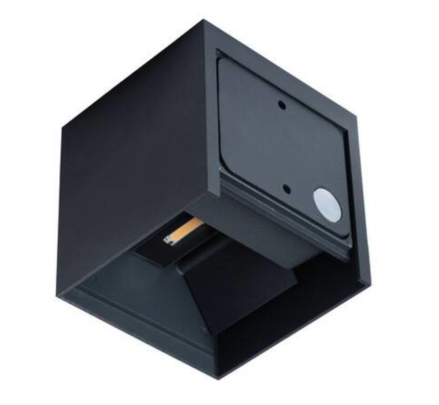 LED wandlamp grafiet IP54 - 7W 4000K helder wit licht - verstelbare lichtspreiding