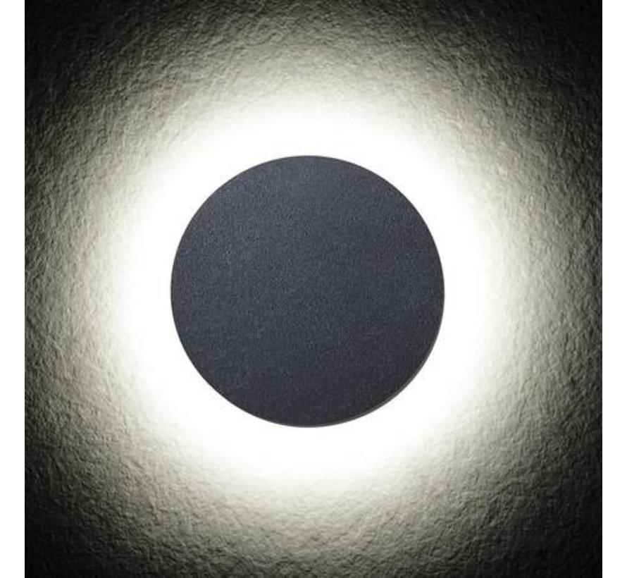 LED wandlamp grafiet IP54 - 8W 4000K helder wit licht - 360° lichtspreiding