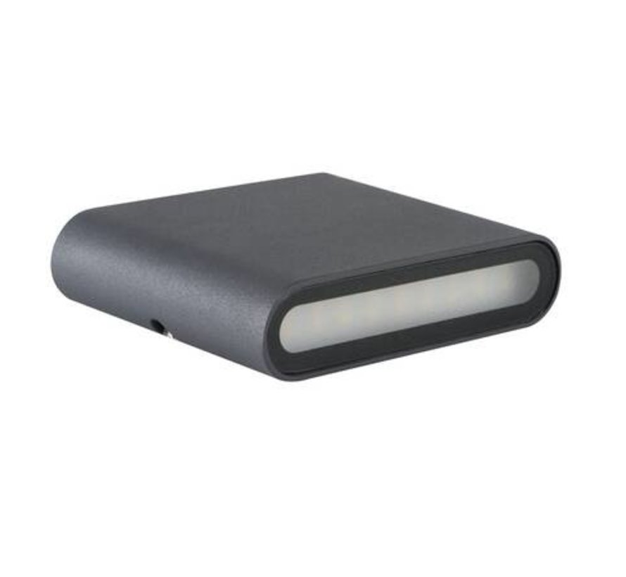 LED wandlamp grafiet IP54 - 8W 4000K helder wit licht - Up and down lichtspreiding