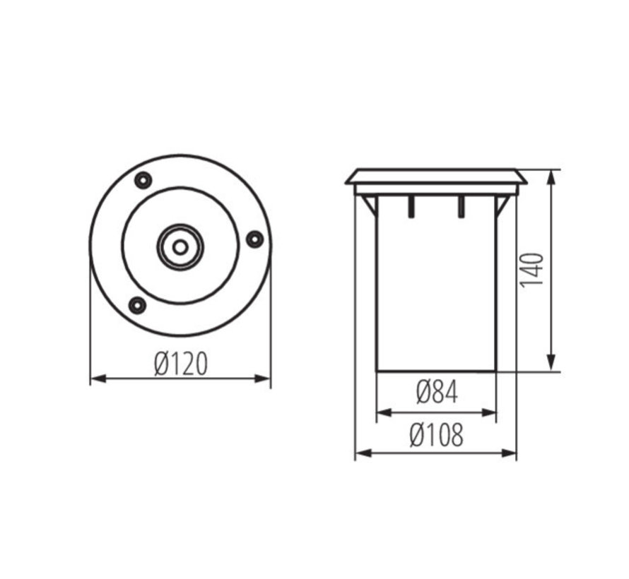 LED GU10 grondspot RVS rond IP67 - Enkelvoudig voor 1 LED GU10 spot