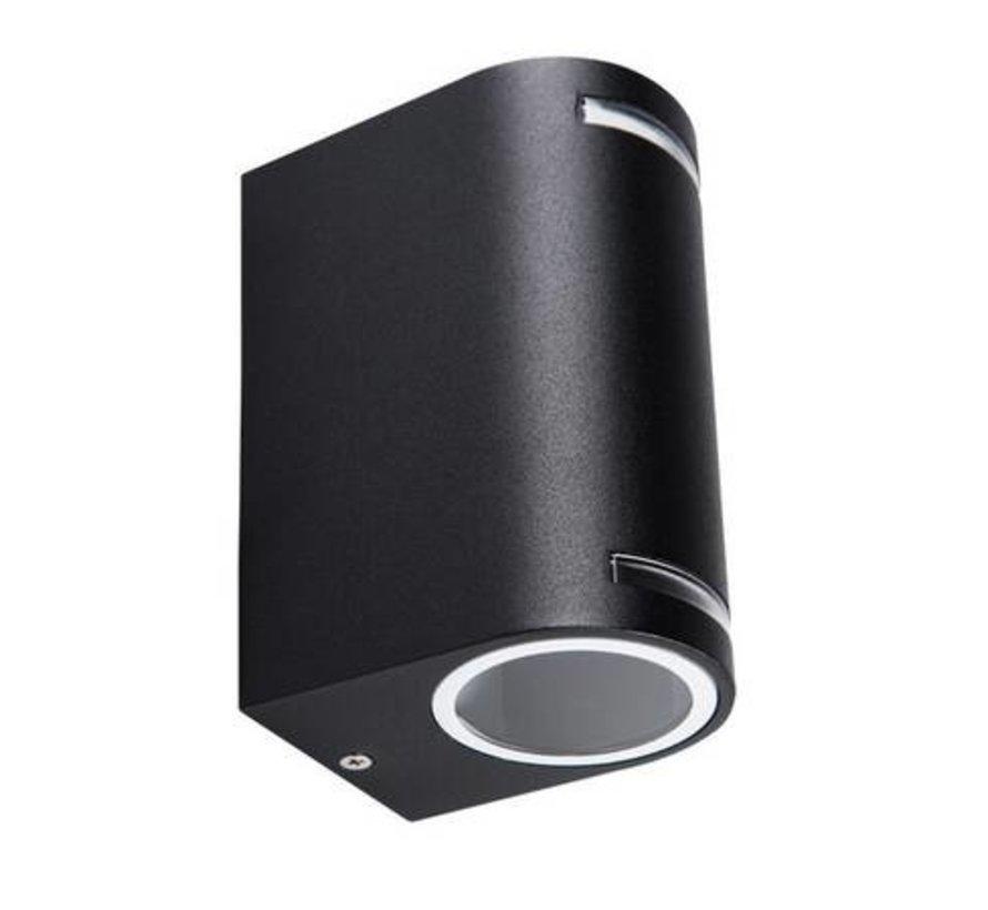 LED GU10 wandlamp zwart IP44 - Dubbelvoudig voor 2 LED GU10 spots