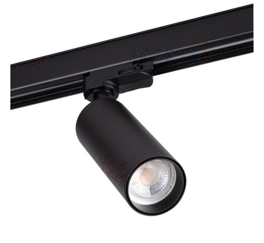 LED GU10 railspot zwart - 3-Fase universeel - Enkelvoudig voor 1 LED GU10 spot