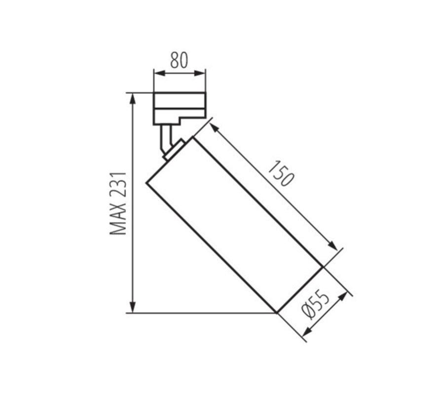 LED GU10 railspot wit - 3-Fase universeel - Enkelvoudig voor 1 LED GU10 spot