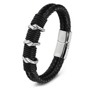 Nivo Bold Triple Leren Armband Zwart