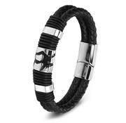 Nivo Bold Design Leren Armband Zwart