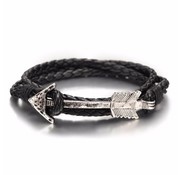 Nivo Arrow Leren Armband Zwart Zilver