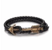 Nivo Arrow Leren Armband Zwart Brons