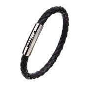 Nivo Wire Gevlochten Leren Armband Zwart