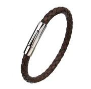 Nivo Wire Gevlochten Leren Armband Bruin