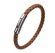 Nivo Wire Gevlochten Leren Armband Cognac