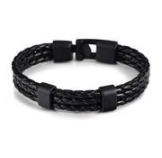 Nivo Triple Gevlochten Leren Armband Zwart