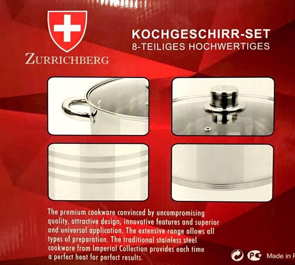 Zurrichberg Pannenset  8-delig RVS