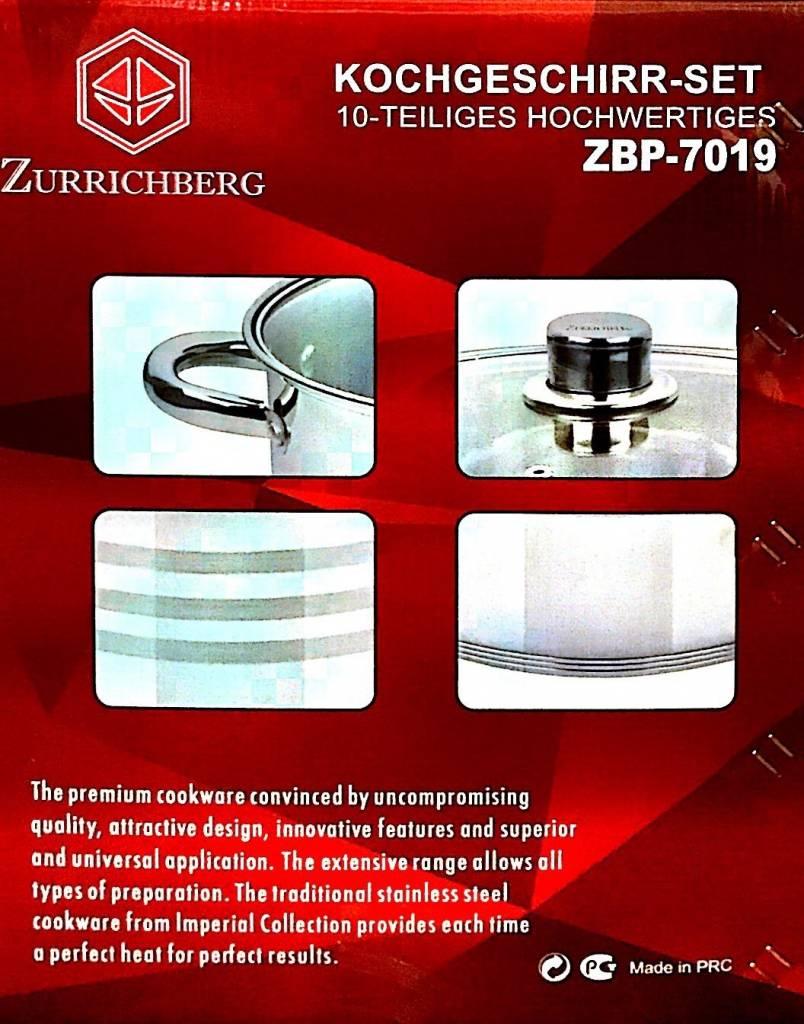 Zurrichberg Pannenset 10-delig Groot RVS