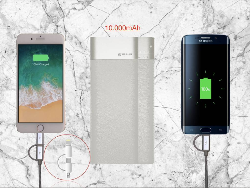 Straus PowerBank UltraQuick + 2-in-1 Oplaadkabel 10.000mAh Wit