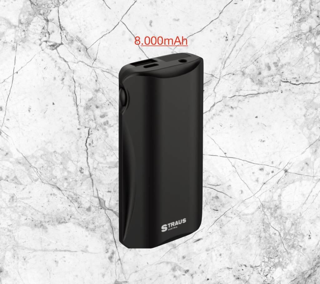 Straus PowerBank COMPACT+ 8.000mAh LCD-scherm & LED-lamp