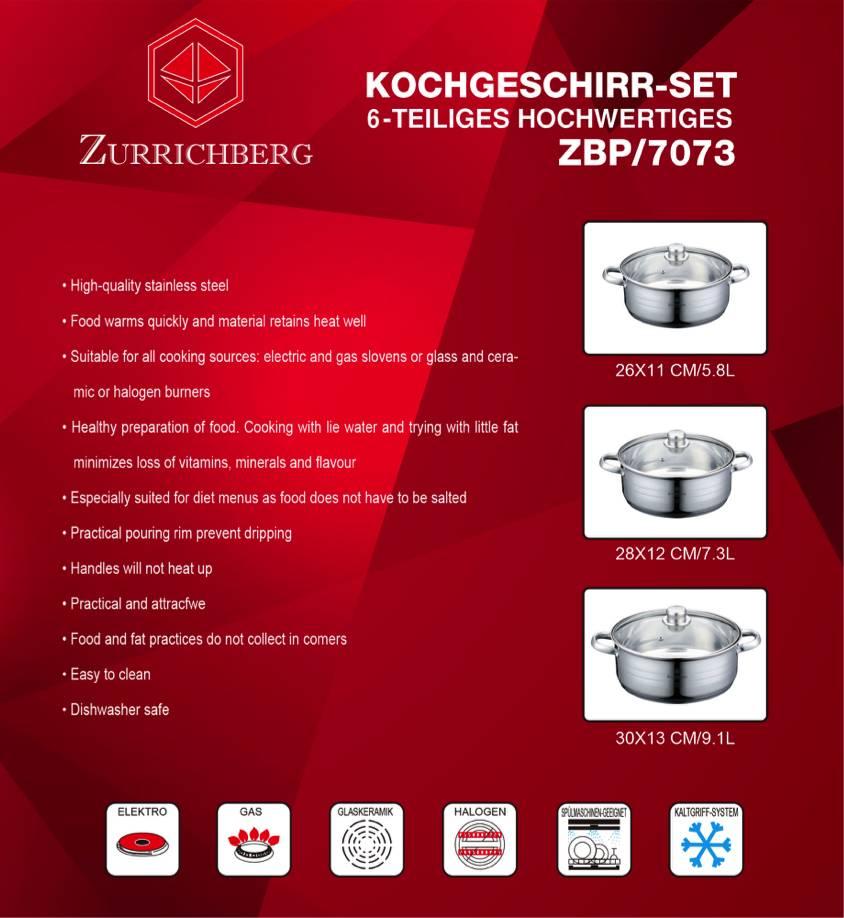 Zurrichberg Pannenset 6-delig RVS DELUXE