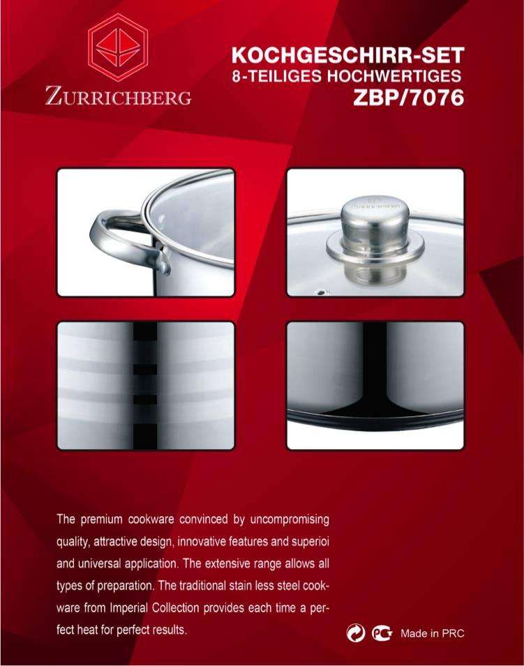 Zurrichberg Pannenset  8-delig RVS Koper