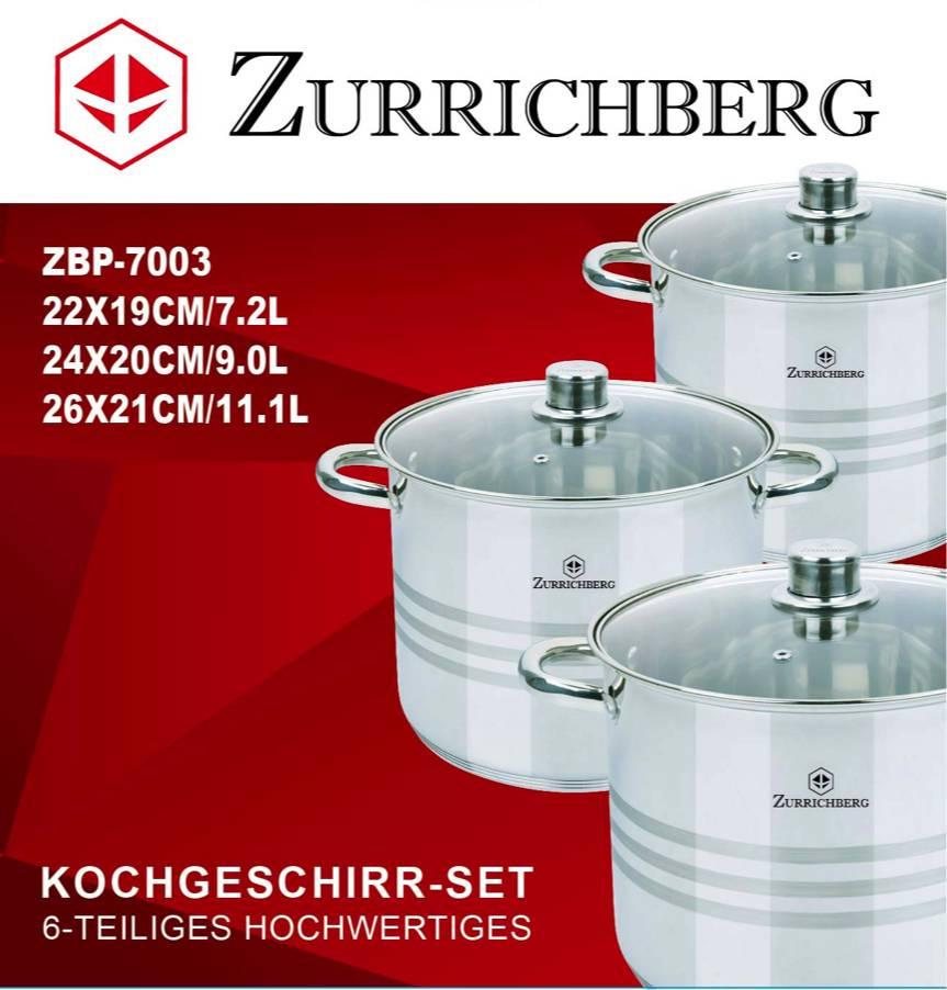 Zurrichberg Pannenset 6-delig Klein RVS