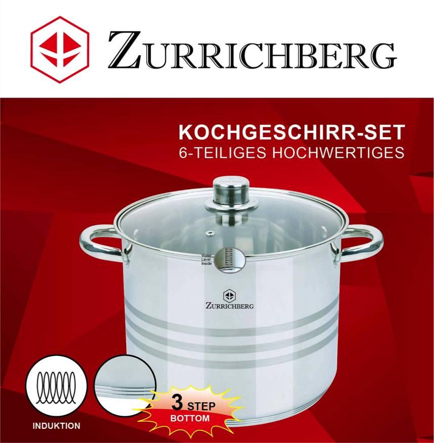 Zurrichberg Pannenset 6-delig RVS