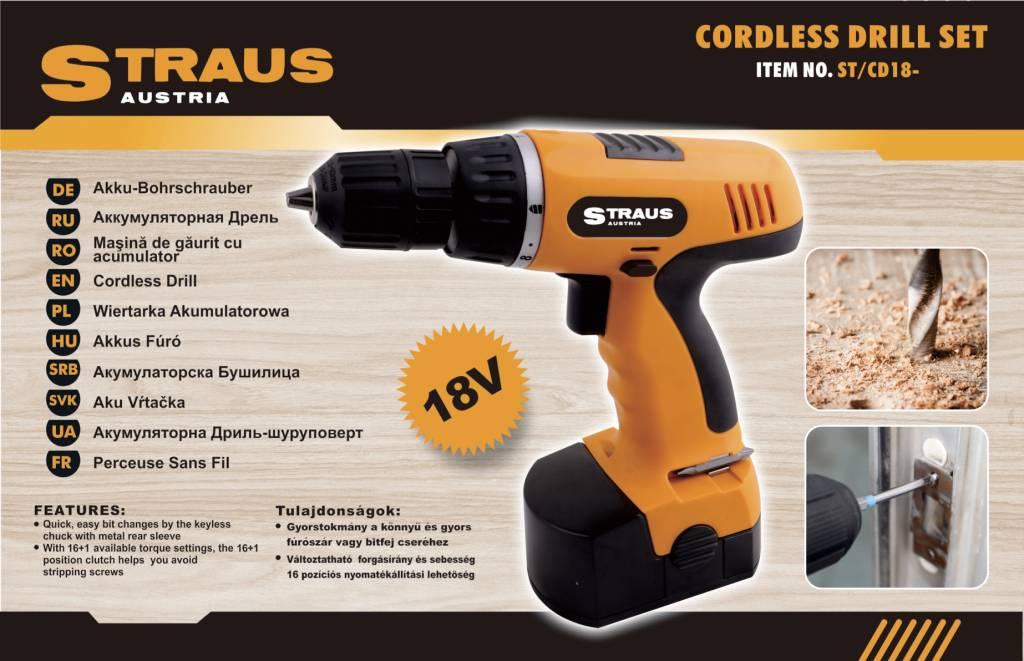 Straus Accuboormachine + Boorbitset 47-delig 18V Ni-Cd