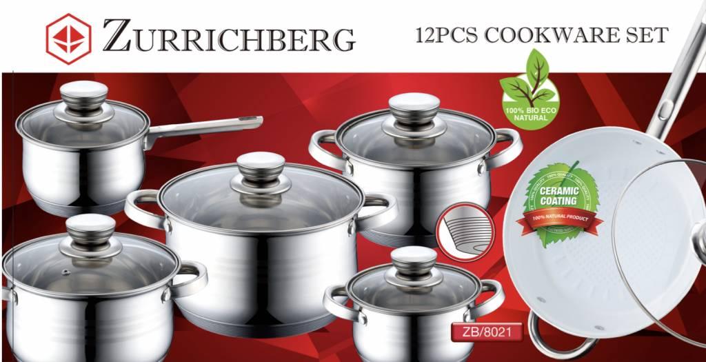Zurrichberg Pannenset Keramische Coating + Koekenpanset Marmer Coating 15-delig Combo Actie