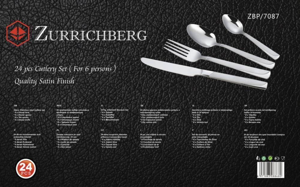 Zurrichberg LUXE Bestekset 24-delig, 6-persoons RVS